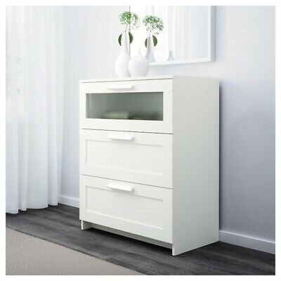 IKEA | BRIMNES  Chest of 3 drawers | White/frosted glass 78 x 95 cm | NEW BOXED