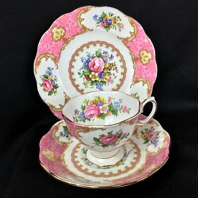 Vintage Lady Carlyle Royal Albert Coffee Cup Saucer & Side Plate 1st Quality