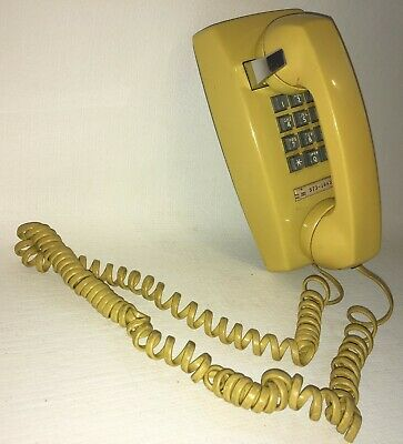 Vtg Yellow Western Electric Bell Systems Wall Mount Push Buton Telephone 2554BMP