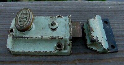 Vintage Antique Corbin Deadbolt Lock with Matching Plate Works Cast Iron