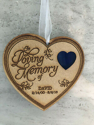 Personalised Wooden Hanging Heart In Loving Memory Plaque Memorial - Any Name