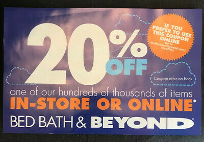 Bed Bath Beyond 20% off 1 Item *** Online or In-Store Coupon *** Exp 9/2/2019