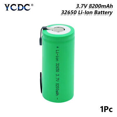 32650 Battery 3.7V 8200mAh High Capacity Rechargeable Li-ion Cell With Tabs 2DE