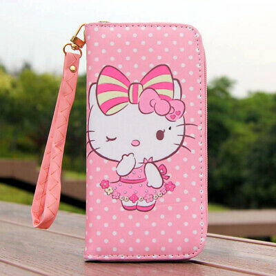 """Cute Hello Kitty Wallet with Strap Zipper Coin Purse 6"""" Phone Bag Girl Gift"""