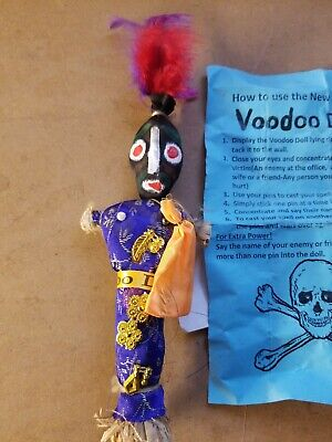 Authentic Voodoo revenge doll New Orleans black white pin detailed hand painted