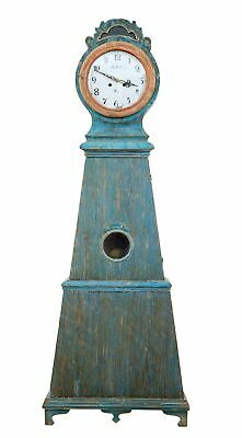 19Th Century Decorative Mora Painted Swedish Longcase Clock