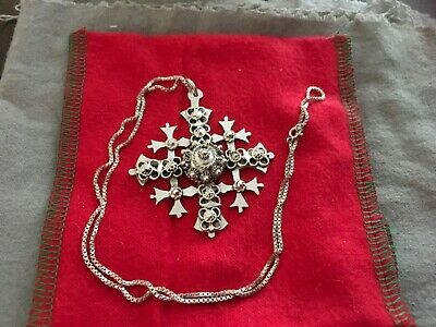 JERUSALEM CRUSADER SILVER CROSS pendent with applied wire and bead decoration