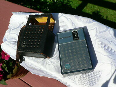 Vintage Westinghouse Transistor Radio H-902P6Gpa Charcoal Blue W/ Case Works
