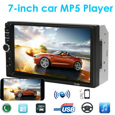 "7"" Double 2 DIN Car MP5 Player Bluetooth Touch Screen Stereo Radio AUX-IN+Camera"