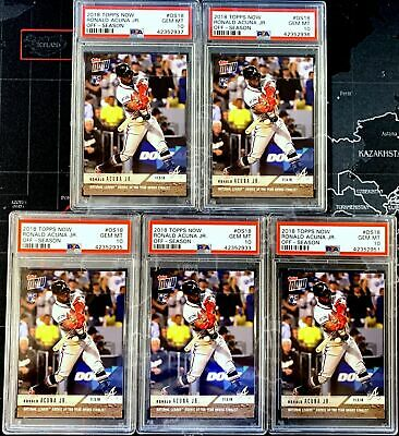 5x) LOT 2018 Topps Now Off-Season OS18 ROOKIE YEAR Ronald Acuna Jr ~ ALL PSA 10