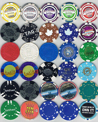 Lot of 30 Misc Advertising Casino Chips - NICE Assortment !!!