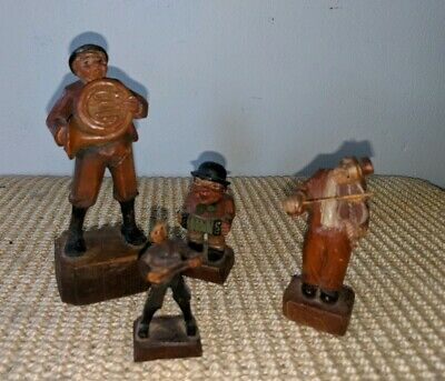 Vintage Lot of Wood Carved Italian Mysician Figurines Anri?