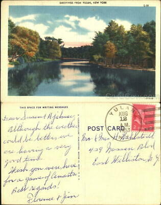 1953 Greetings From Yulan Sullivan County New York Linen Postcard 2C stamp