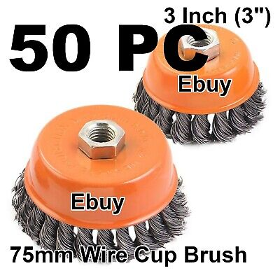 "50 Cup Wire Brush 3"" (75mm) for 4-1/2"" (115mm) Angle Grinder Twist Knot Hoteche"