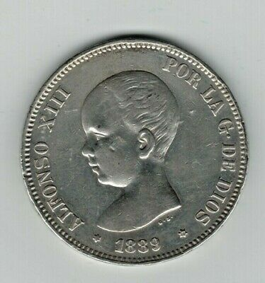 Spain 5 Silver Pesetas/Silver Duro. Alfonso XIII Madrid 1889 VF+  HIGH GRADE