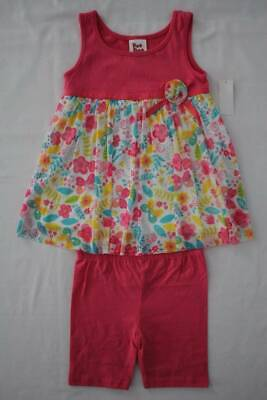 NEW Toddler Girls 2 piece Outfit Size 4T Skirted Floral Top Shorts Set Pink