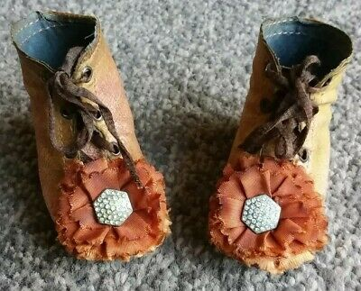 Superb Pair Of 3 Inch Genuine Antique French Leather Bru Stamped Dolls Boots.
