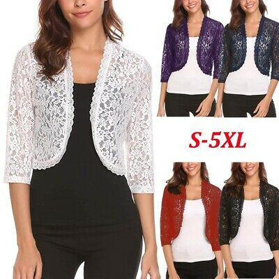 US Womens Coats Half Sleeve Lace Crochet Shrug Open Front Cardigan Cropped Top