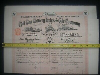 Share certificate Hill Top Colliery Brick & Tile Co 1906