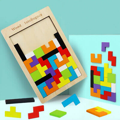 Wood Puzzle  UK Baby Toddler Montessori Tetris Brain Teaser Game Kids Wooden Toy
