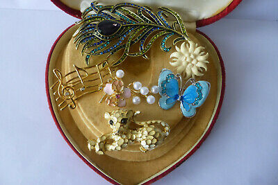 Jewellery Vintage Very Pretty Mixed Job Lot Of Six Brooches Pins Various Eras