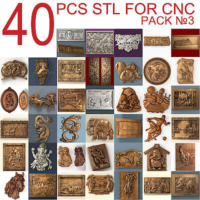 3d stl Model relief 40 pcs Pack for CNC Router Artcam #3