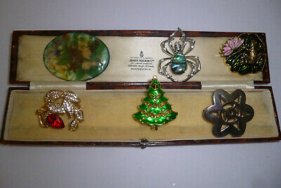 Jewellery Vintage Attractive Mixed Job Lot Of Six Brooches Pins Various Eras