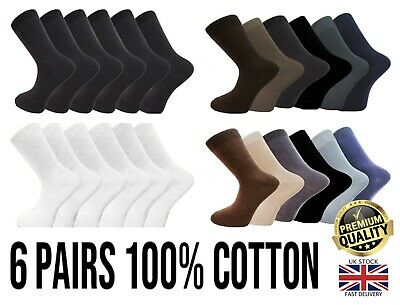 New 6 Pairs Mens 100% Cotton Quality Luxury Work Office Socks Size UK6-11