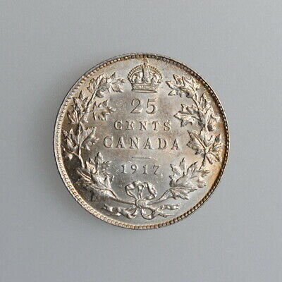 """Canada 25 cents 1917, UNC, """"King George V (1911 - 1936)"""""""