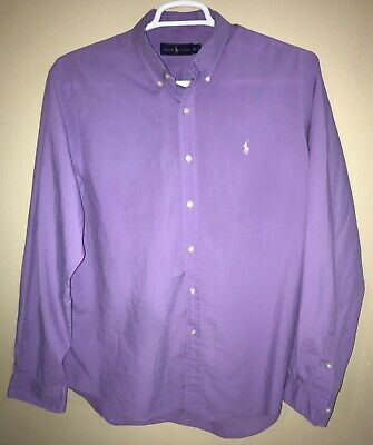 Polo Ralph Lauren Mens XL Extra Large Solid Purple Long Sleeve Button Down Shirt