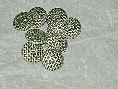 CHANEL  CC LOGO 8  SILVER METAL BUTTONS  12  MM/ OVER 1/2''  small NEW  lot 8