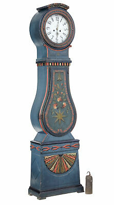 Mid 19Th Century Swedish Hand Painted Mora Longcase Clock