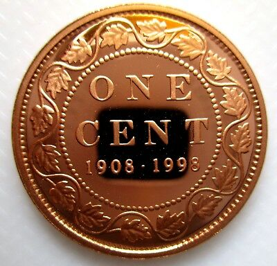 1998 Canada 1908-1998 Mirror Finish Sterling Silver 1 Cent Proof Penny Coin