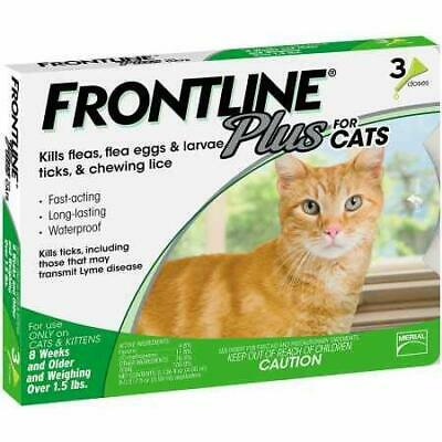 Frontline Plus for Cats and Kittens, Flea and Tick Treatment, 3 Doses