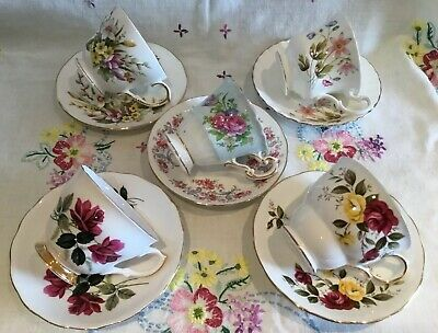 *5 Pretty Vintage Mismatched 🌸 Floral Bone China Tea Set Cups And Saucers*