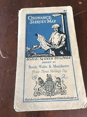 Vintage Ordnance Survey Map of North Wales and Manchester c1930 - O/S Sheet 4a