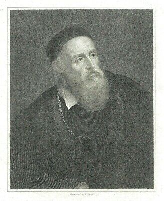 Titian - Renaissance Painter - Engraved by W. Holl from a Titian Self-Portrait