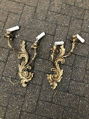 Pair Ormolu Bronze 2 Branch Wall Lights Sconce Scrolling Leaf Rococo Lamps