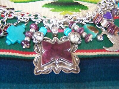 Native American Sterling Purple Spiny Oyster Turquoise Navajo Charm Bracelet