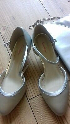 Silver size 3 shoes and matching handbag (Wedding )
