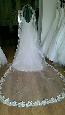Long Catherdral Length Veil Ivory Lace Edge