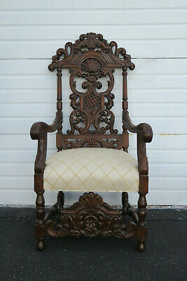 Early 1900s Heavy Carved Tall Large Renaissance Revival Throne Arm Chair 9810