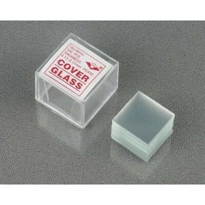 AmScope 100pc Pre-Cleaned Microscope Glass Cover Slides Coverslips 18mmx18mm Squ