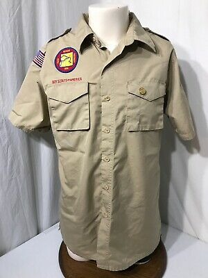 Men's Tan Boy Scouts Of America Uniform Shirt-Size M