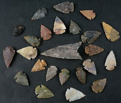 """24 PC Flint Arrowhead Ohio Collection Points 1-3"""" Spear Bow Stone Hunting 1395"""