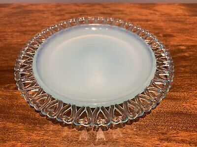 Antique Opalescent Opaline Robins Egg Blue glass Heart Laced Plate: 7 x 7.
