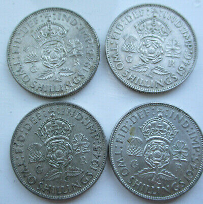 Qty 4 GEORGE VI SILVER FLORINS / TWO SHILLING COIN        Scrap or Collect
