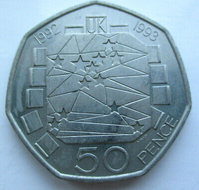 1992 1993 UK Presidency of the council of EEC fifty pence 50p coin High Grade
