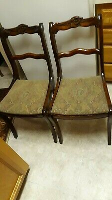 Set of 2 Antique Vintage Duncan Phyfe Roseback Accent Side Chairs
