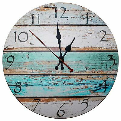 Vintage Wooden Wall Clock Shabby Chic Rustic Kitchen Home Antique Style 30cm